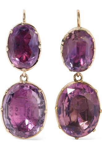 earrings gold purple jewels