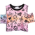 Pink Off the Shoulder Skull Diamond Print Crop T-Shirt - Sheinside.com