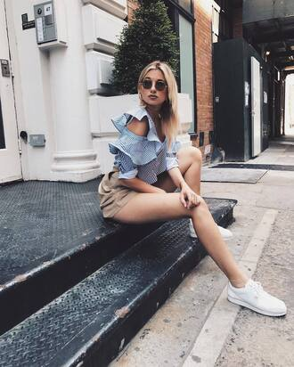 shoes tumblr sneakers white sneakers low top sneakers nike nike shoes shorts top blue top asymmetrical asymmetrical top ruffle