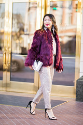 styleofsam,blogger,jumpsuit,shoes,jacket,t-shirt,winter outfits,faux fur coat,sandals,party outfits