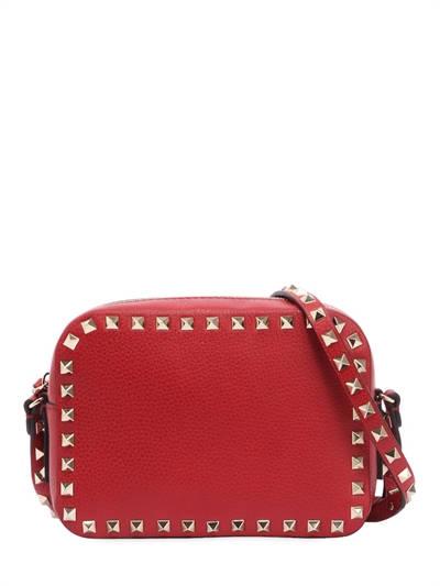 VALENTINO, Rockstud leather camera bag, Valentino red, Luisaviaroma