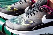 shoes,nike air max thea,rainbow,women shoes,black
