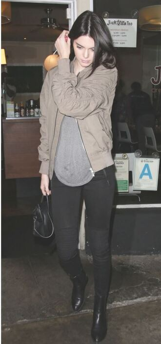 kendall jenner bomber jacket army green jacket black jeans