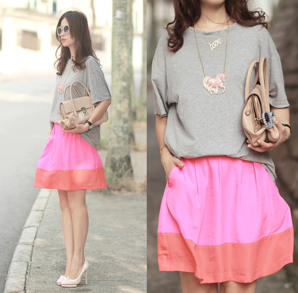 Pink Contrast Pleated Skirt | Choies