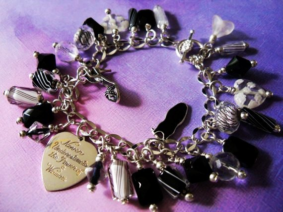 Charm Bracelet, Sterling Vintage Heart, Never Underestimate the... - Bracelets - Black: Love It by Utjesinovic Vladimir