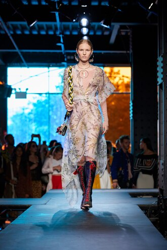dress diane von furstenberg nyfw 2017 ny fashion week 2017 runway model see through midi dress asymmetrical