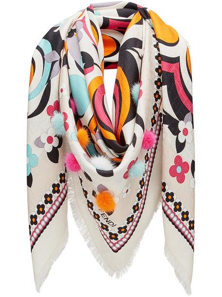 Fendi printed scarf fur women embellished scarf white silk wool