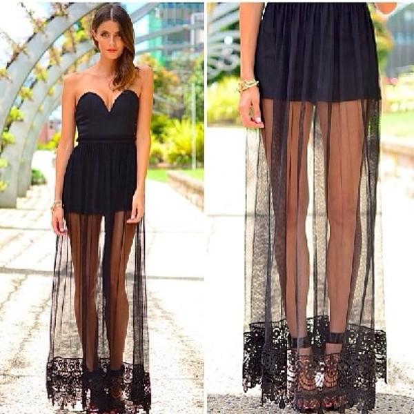 dress black sexy dress strapless dress lace dress v neck dress crochet black maxi long mesh lace c black dress lace sheer maxi