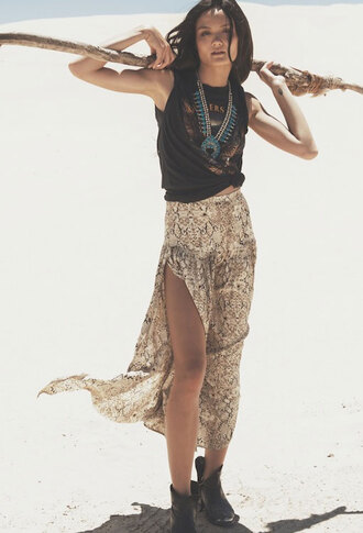 skirt festival burning man shirt jewels indie hippie necklace snake print