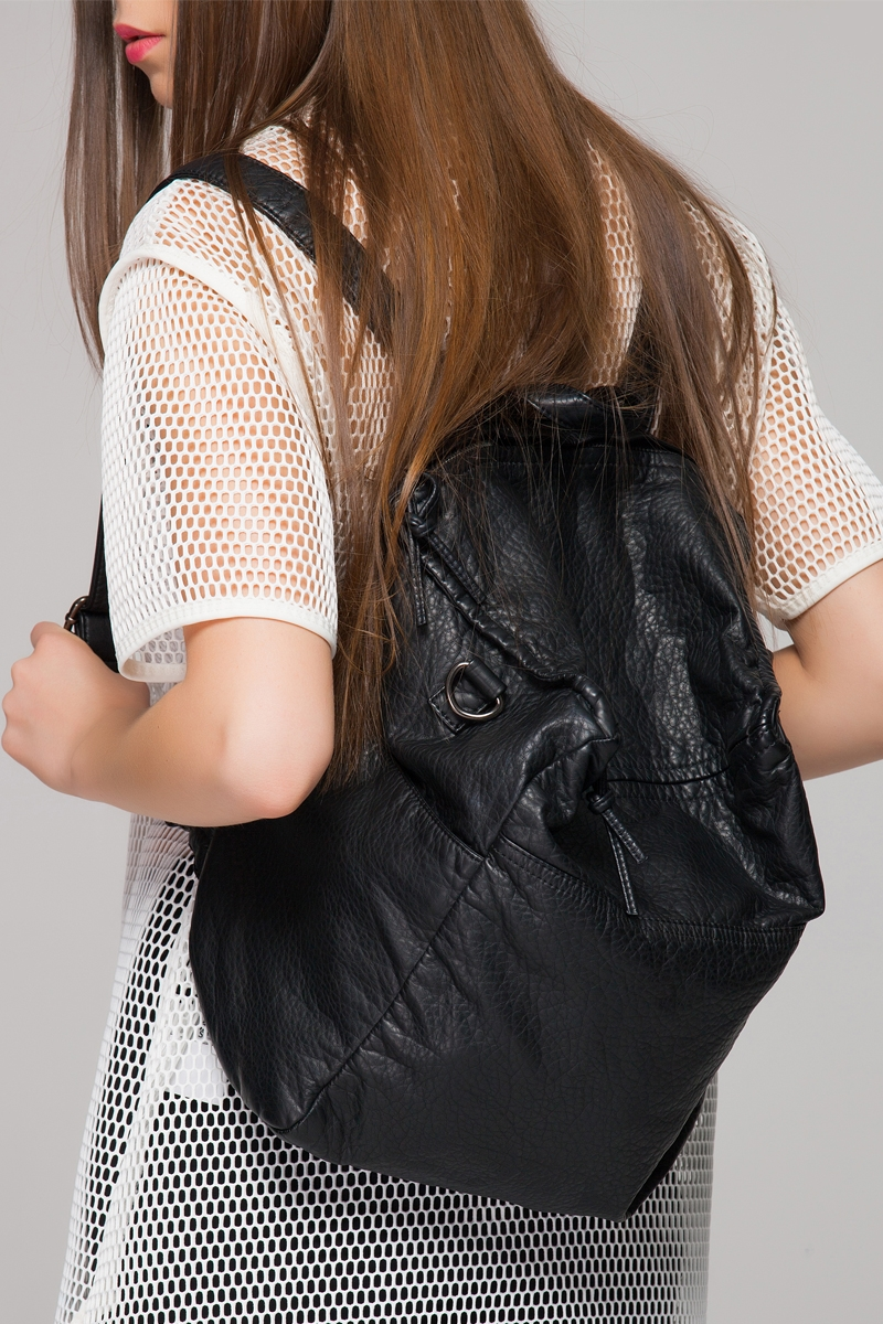 Leather look backpack