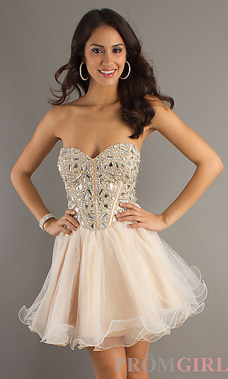 Beaded Strapless Short Dress, Short Beaded Prom Dress- PromGirl