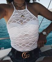 swimwear,haler neck swimsuit,halter neck,gucci,gucci belt,halter neck swimsuit,watch,jewels,jewelry,Accessory,accessories,bracelets,necklace,crescent pendant,earphones,horn,horn necklace,layered,gold,gold necklace,choker necklace
