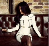 dress,creme dress,white dress,bodycon dress,long sleeve dress