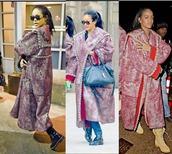 coat,rihanna,winter outfits,bag