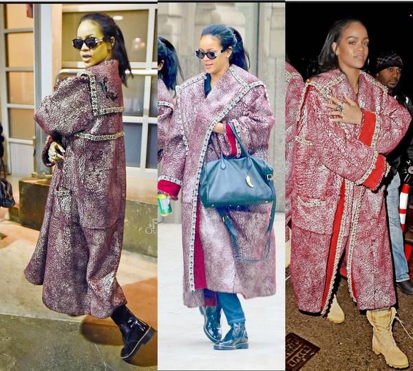 Coat Rihanna Winter Outfits Bag Wheretoget