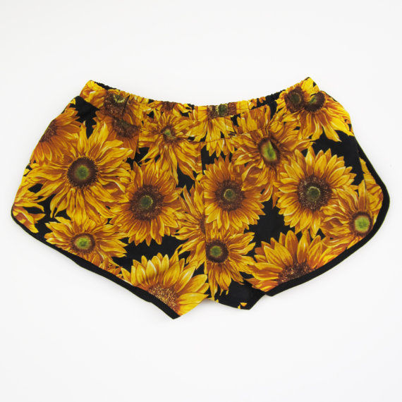Yellow Sunflower Spring Summer Womens Short Sunflowers Floral Shorts | eBay