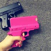 phone cover,pink,black,gun,badass,iphone cover,tumblr,girly,trendy,cool,cute,chic,hippie
