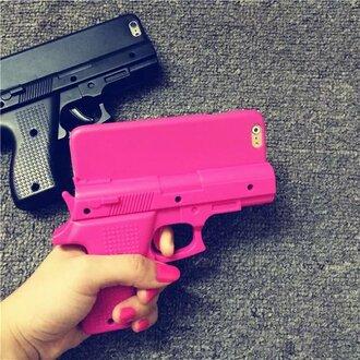 phone cover pink black gun badass iphone cover it girl shop tumblr girly trendy cool cute chic