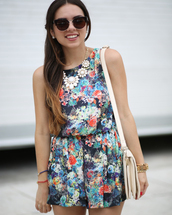jewels,floral,flowers,white,romper,necklace,multicolor,dress