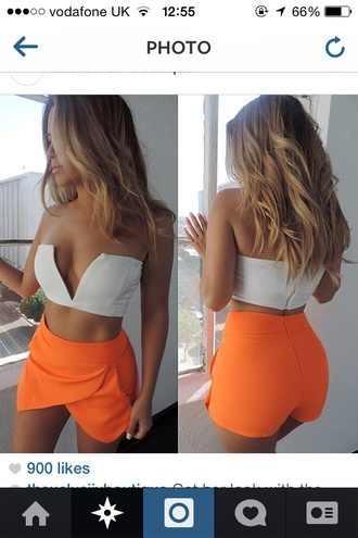 shorts orange shorts crop tops tank top