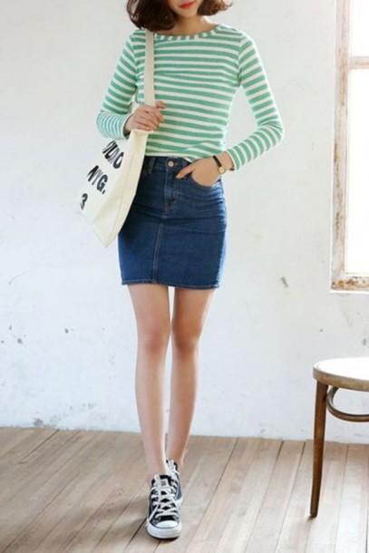 1009203243 skirt, beautiful halo, vintage, mini skirt, denim, denim skirt, cute ...