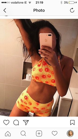 top co ord two-piece yellow orange vibrant flowers summer festival