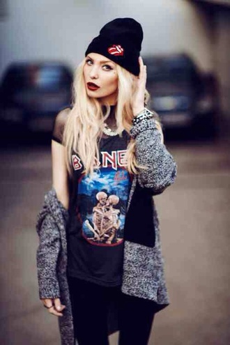 t-shirt grunge rock pale band the rolling stones beanie alternative alternative rock cardigan