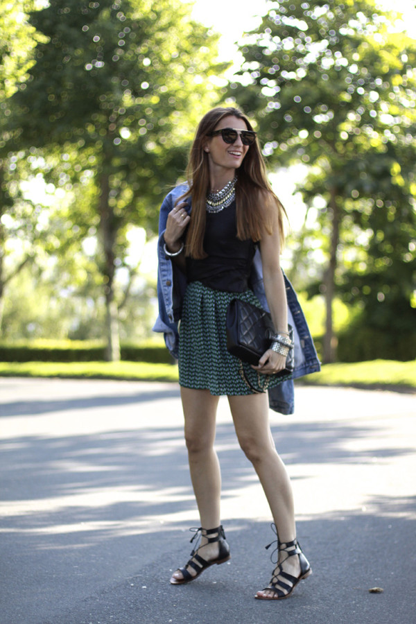 b a r t a b a c skirt top jewels bag sunglasses jacket shoes