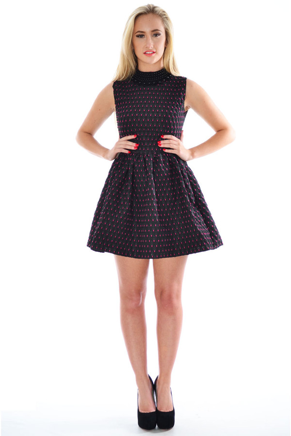 dress necklace color beaded color mini skater dress party dress skater dress sleeveless dress