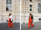 kenza,blogger,pants,white top,long sleeves,orange,leather jacket,bell sleeves