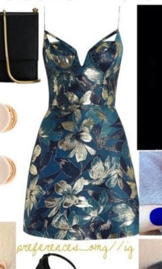 dress gold teal navy floral short dress sleeveless