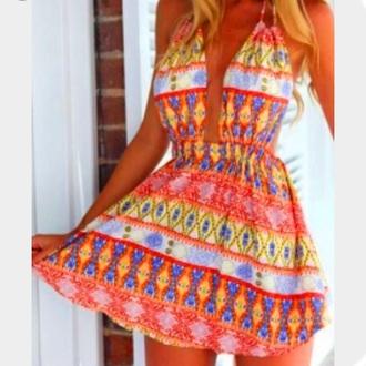dress orange blue white aztec