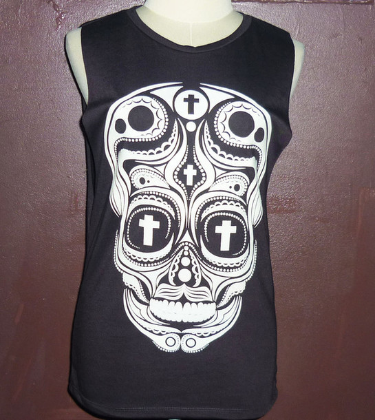 gym tank cut offs cut out top ladies work out clothing sugar skull