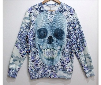 sweater sweatshirt geometric skull style tattoo daimonds grunge alternative cute