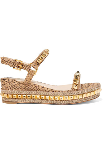 snake studded sandals platform sandals gold neutral shoes