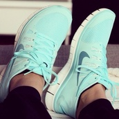 shoes,jumpsuit,nike,nike running shoes,cute,cute outfits,swag,running sneakers,rock,punk,bright,green,orange,girly,girl,feathers,bracelets,necklace,chick,teal,gold,wedges,sexy shoes,baddies,bright sneakers,tiffany blue nikes,size 8,nike free tiffany blue uk