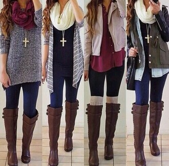 sweater blouse scarf shirt shoes pants bag cardigan jeans