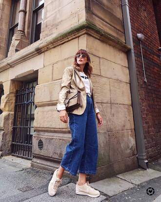 jacket gold blazer tumblr metallic blazer denim jeans culottes denim culottes sneakers nude sneakers nike cortez nike shoes bag