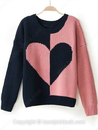 sweater jumper heart heart sweater navy pink colorblock