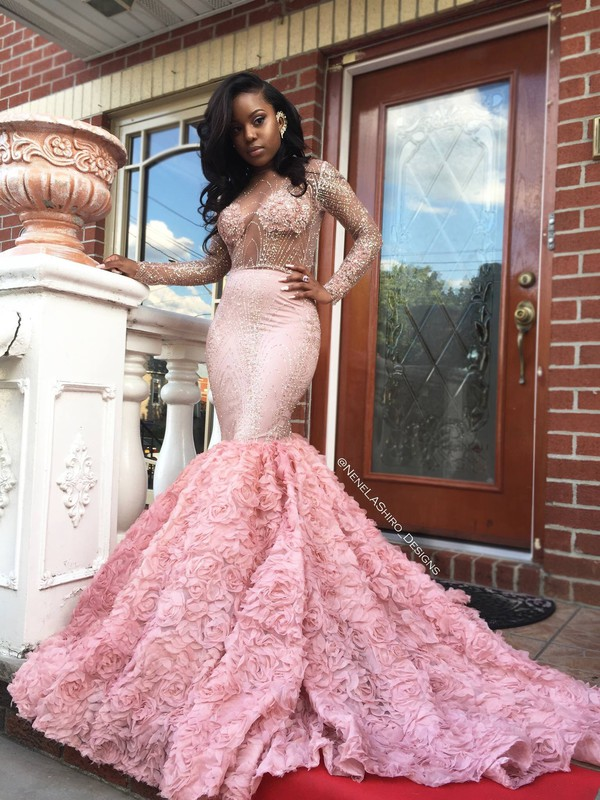 Gorgeous 2k17 Pink Long Sleeve Prom Dresses Sexy See Through Long ...