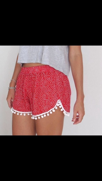 shorts pom pom shorts red shorts