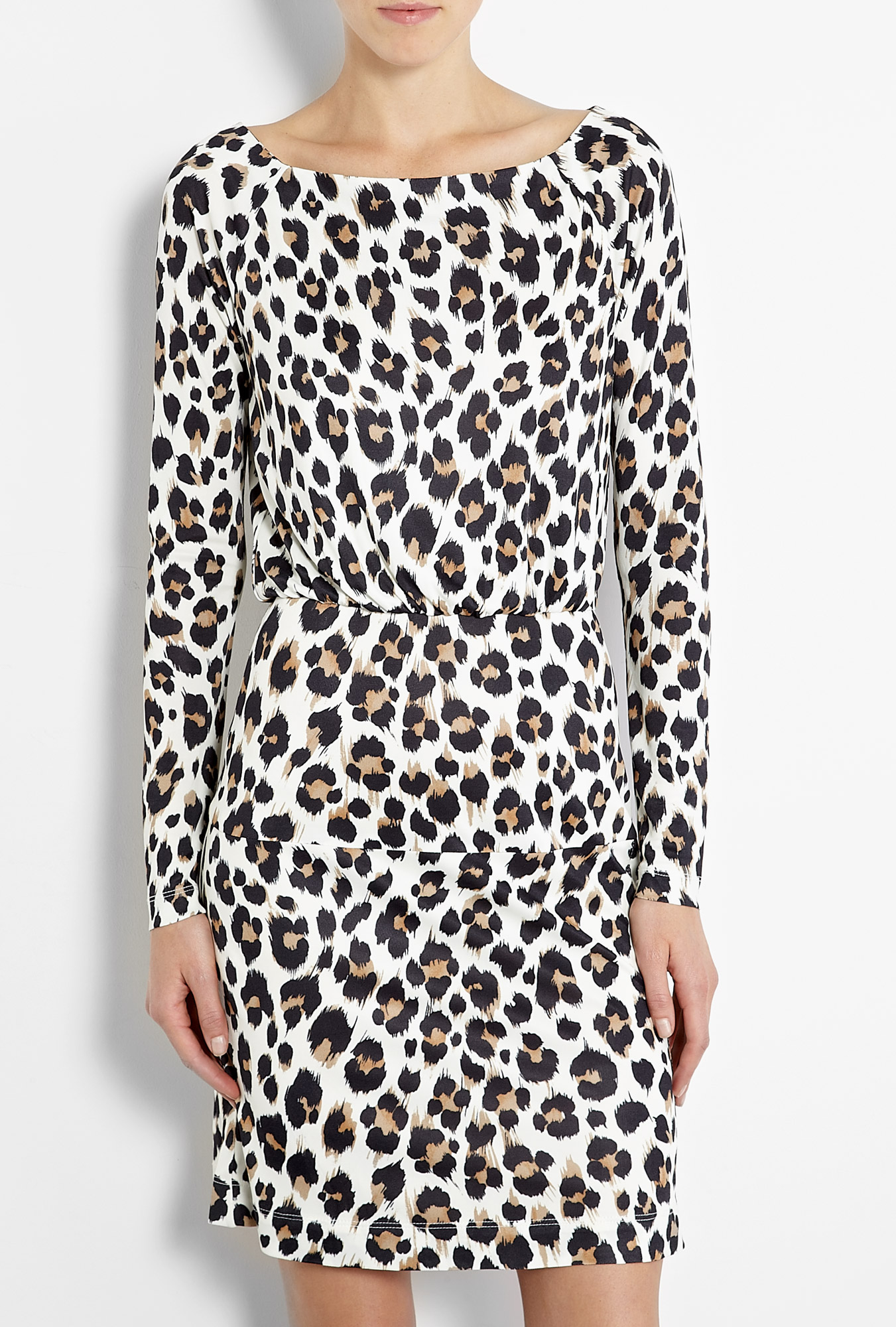 Leopard print jersey long sleeve dress by love moschino