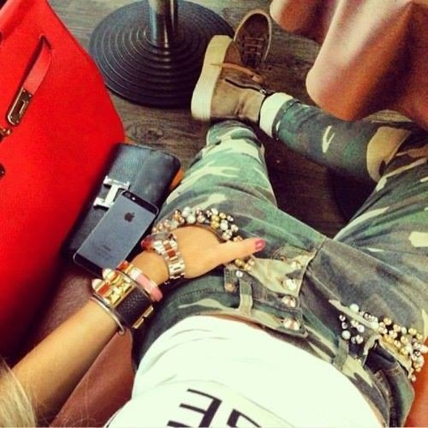pants military pants swag i phone jewels shoes jeans camouflage pearles