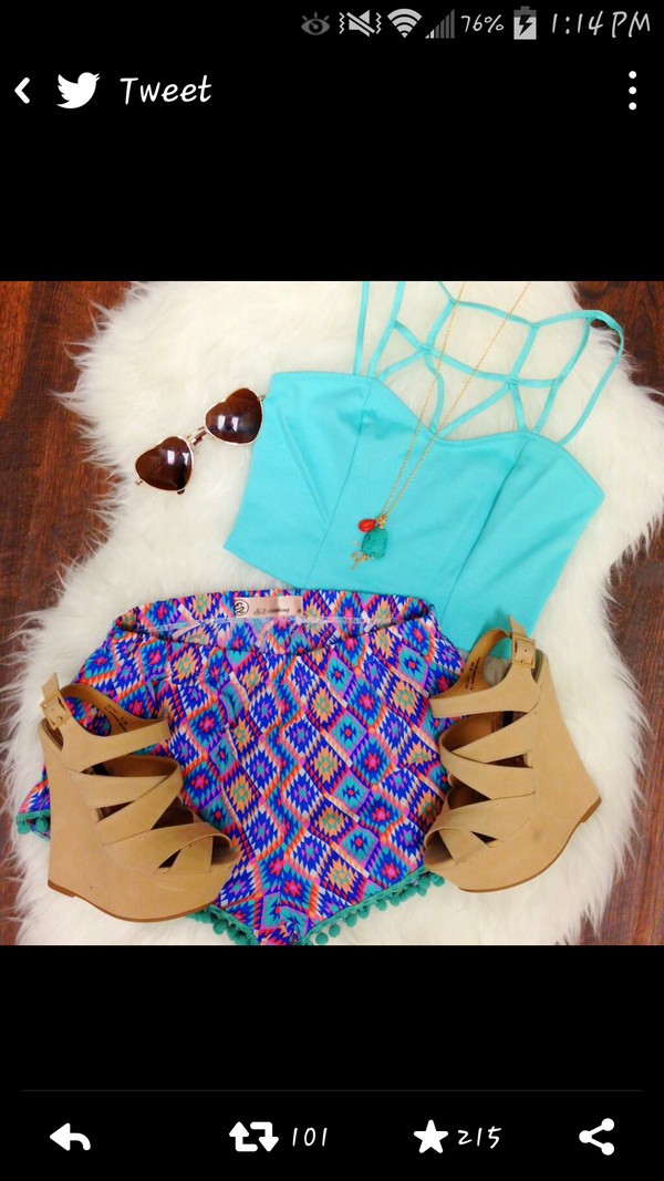 blouse sunglasses shorts blue blue pom pom pom pom shorts