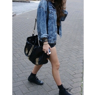 bag duffel bag studs studded bag grunge alternative on point clothing denim jacket converse bracelets fresh jacket