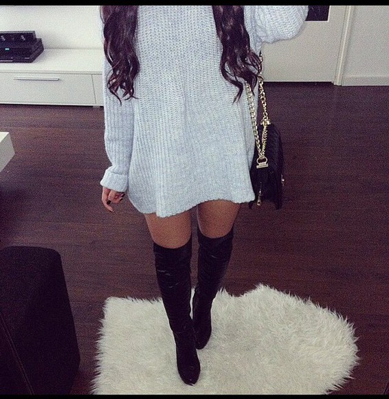 blue dress chanel jumper jumper sweater jumper dress baby blue high heels jumper sweater autumn winter love channel bag
