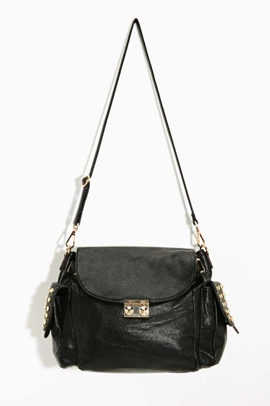 bag satchel black stud
