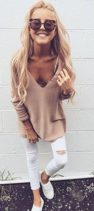 sweater tan loose fit sweater comfy