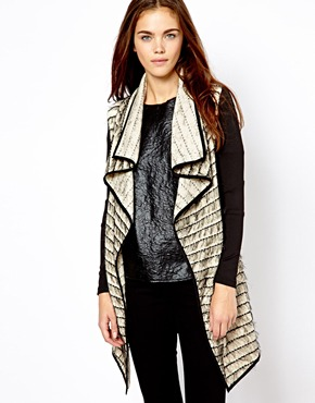 River Island | River Island Leather Look Sleeve Eyelash Waterfall Jacket at ASOS