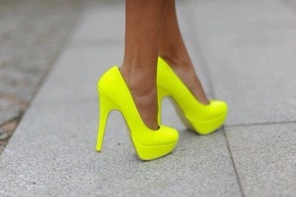shoes neon yellow heels neon neon heels neon shoes yellow yellow shoes yellow heels yellow pumps pumps heels party outfits party shoes